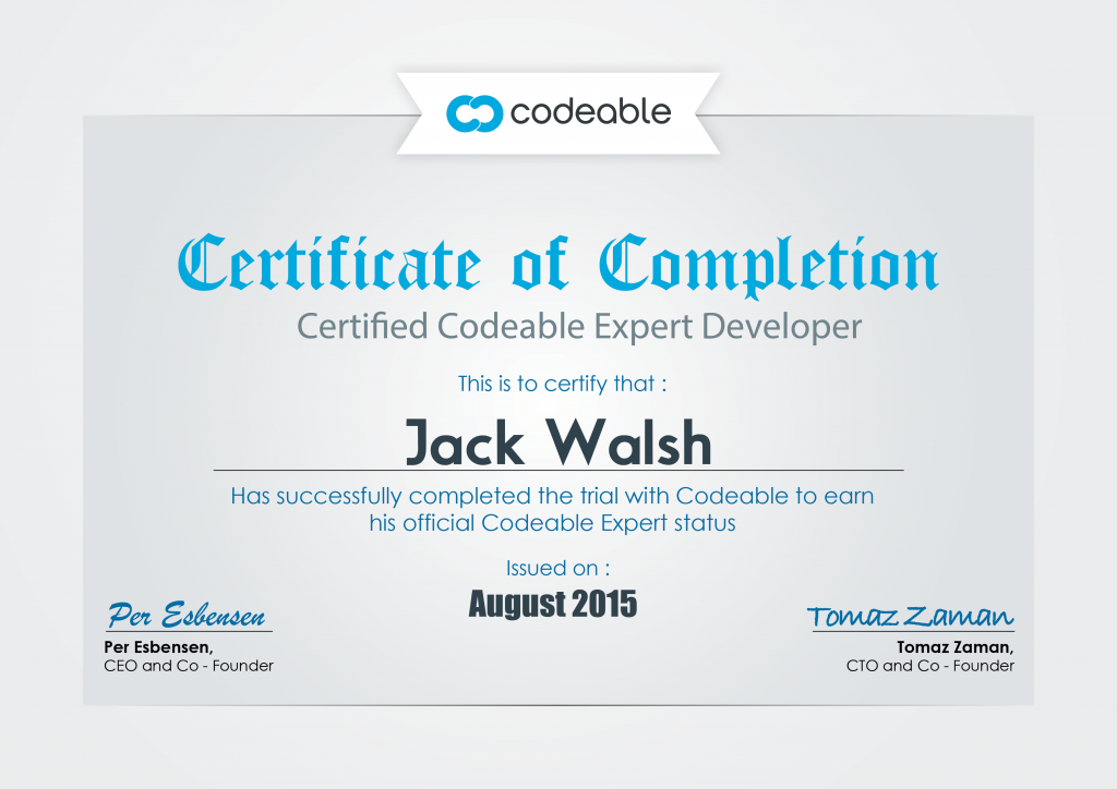 Codeable Expert Developer Certificate
